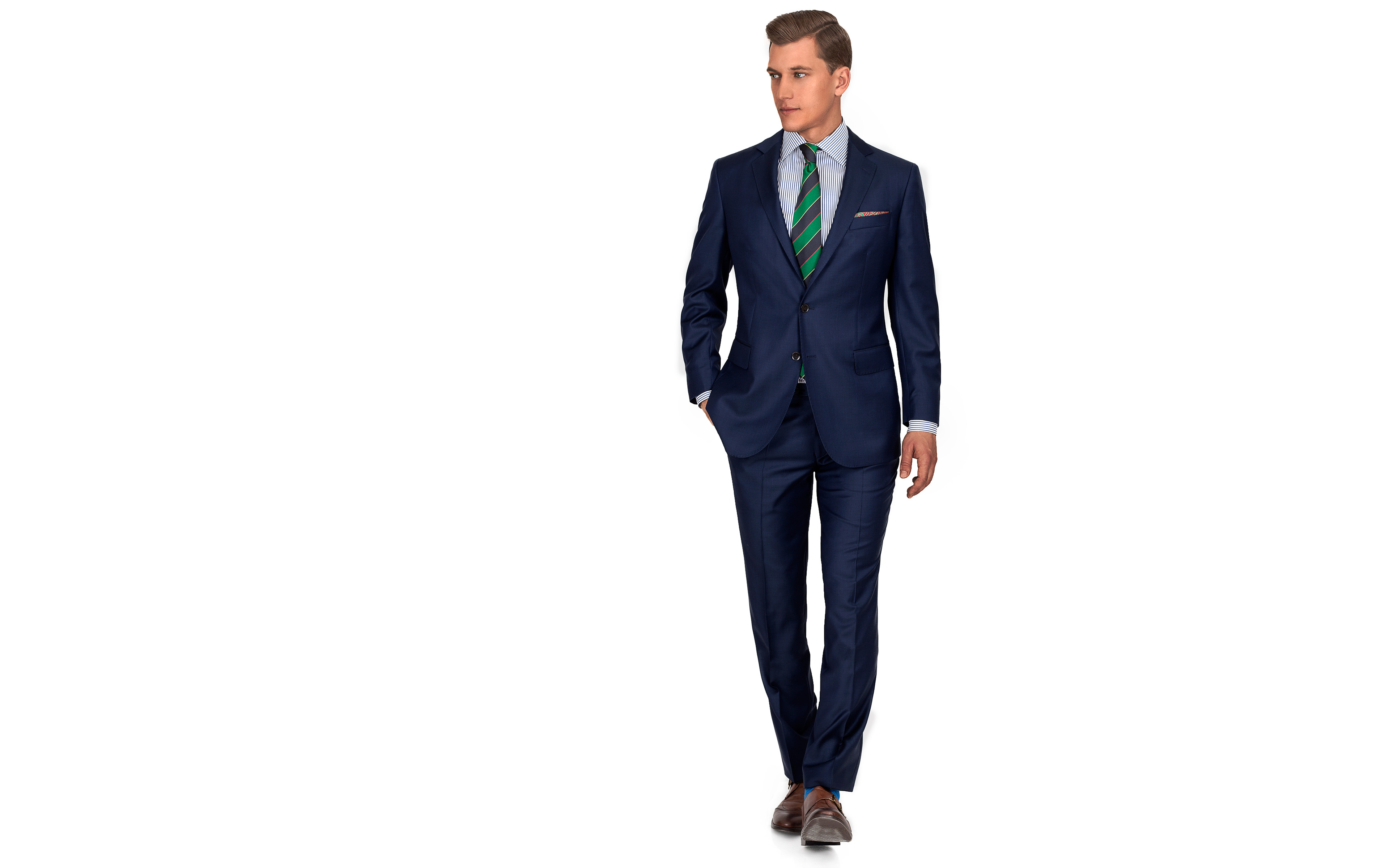 Suit in Navy Pick & Pick Wool