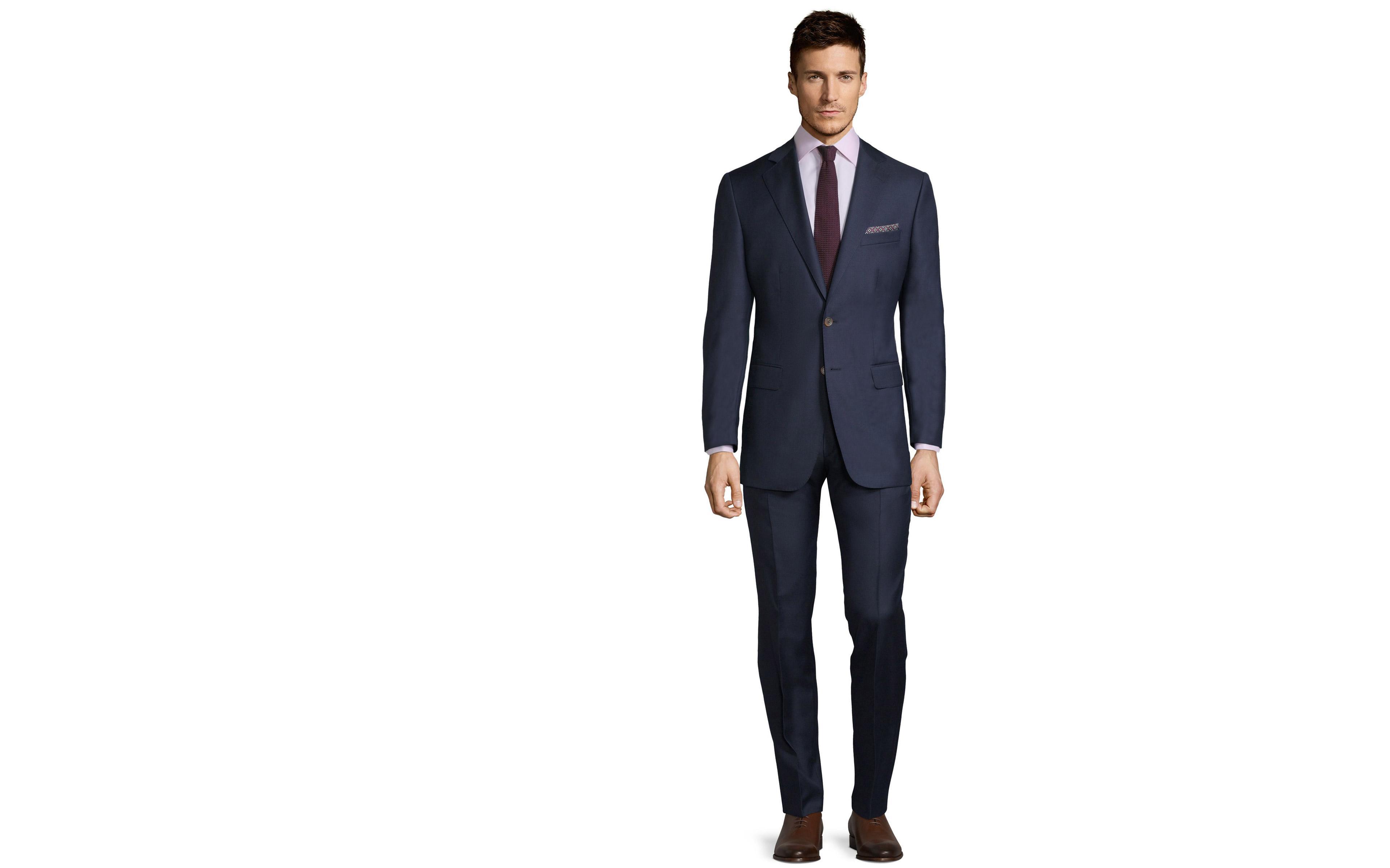 Suit in Navy Pick & Pick Wool
