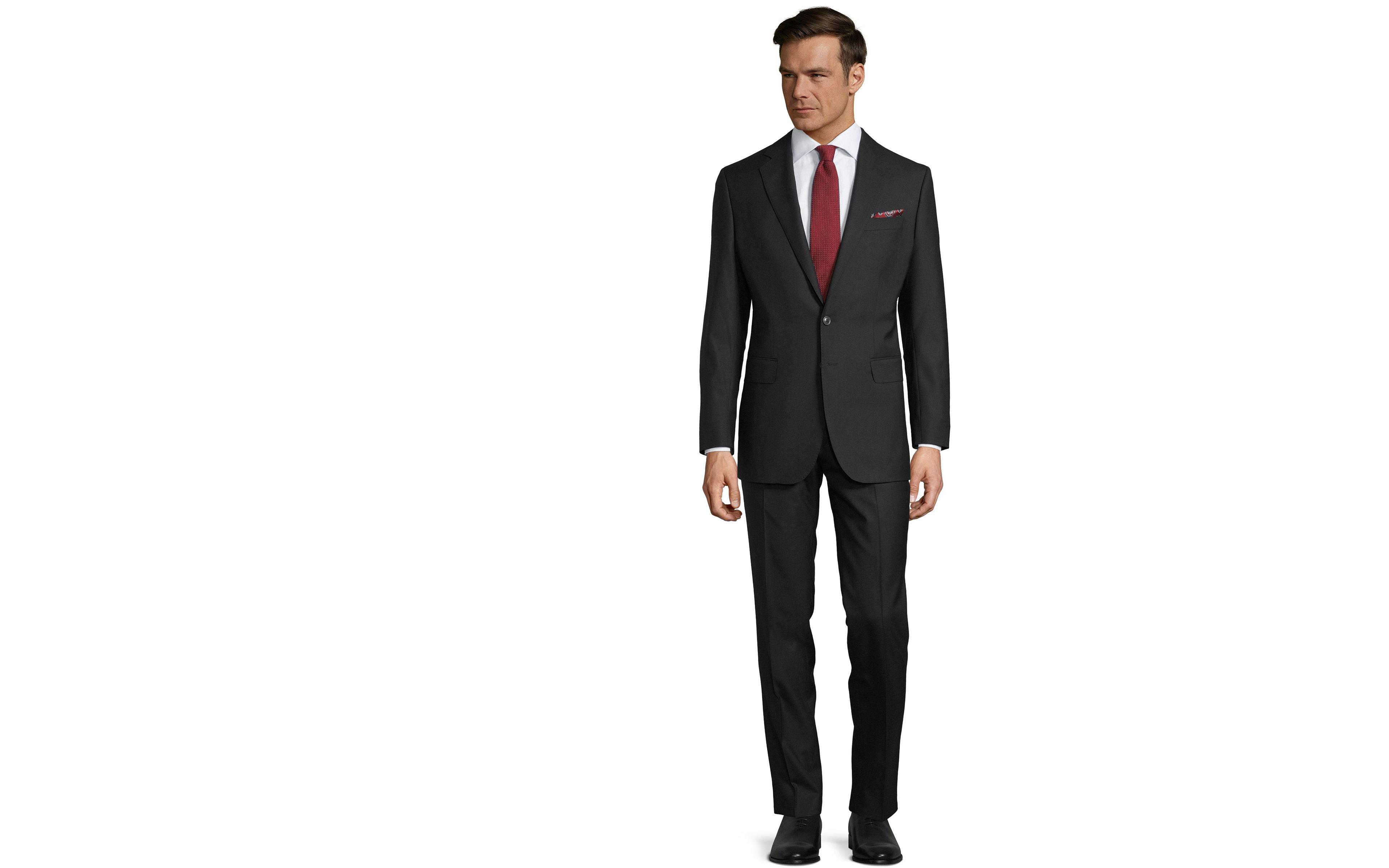 Suit in Solid Black Wool