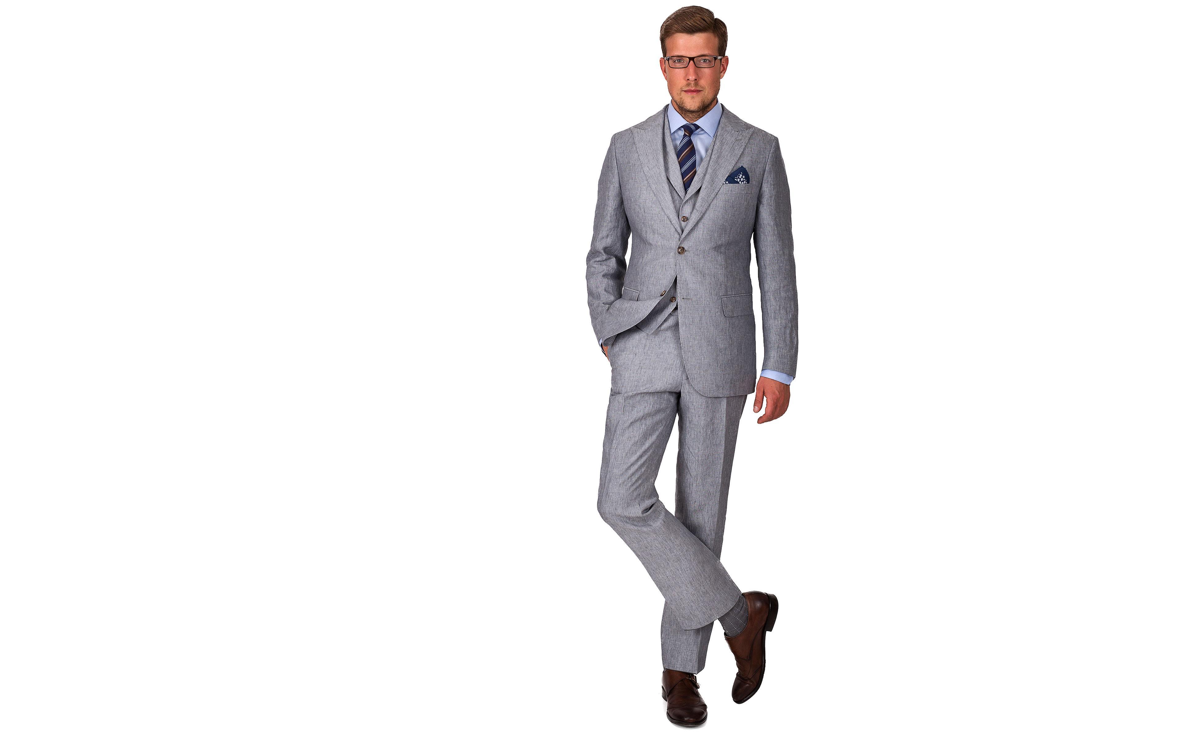 Grey Linen 3 Piece Suit