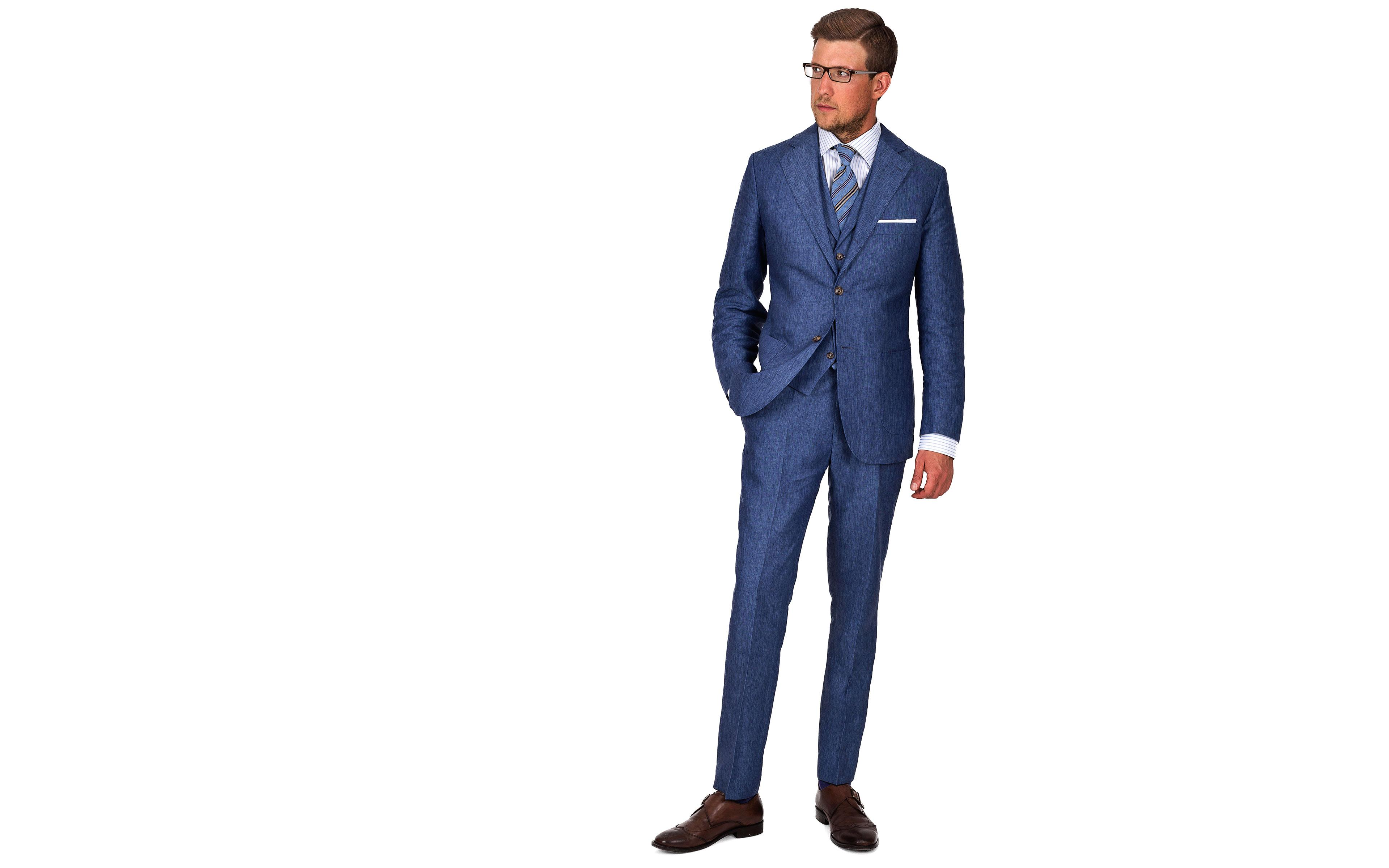 Sky Blue Linen 3 Piece Suit