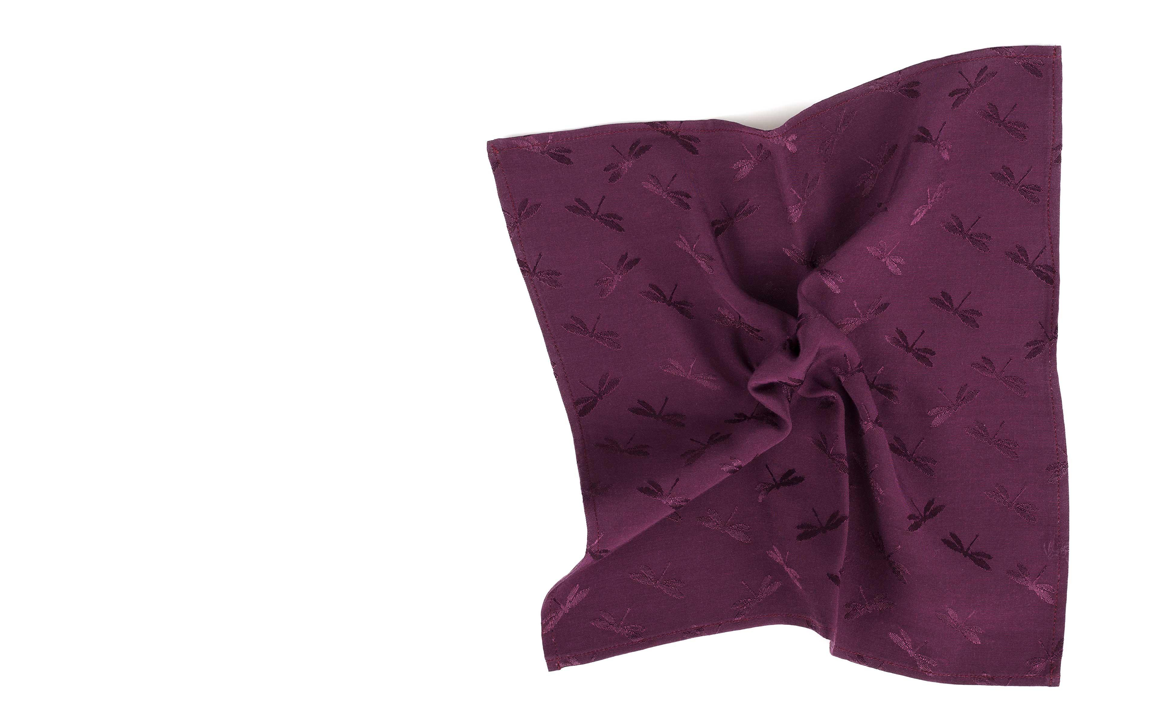 Burgundy Cotton Pocket Square with Dragonfly Pattern
