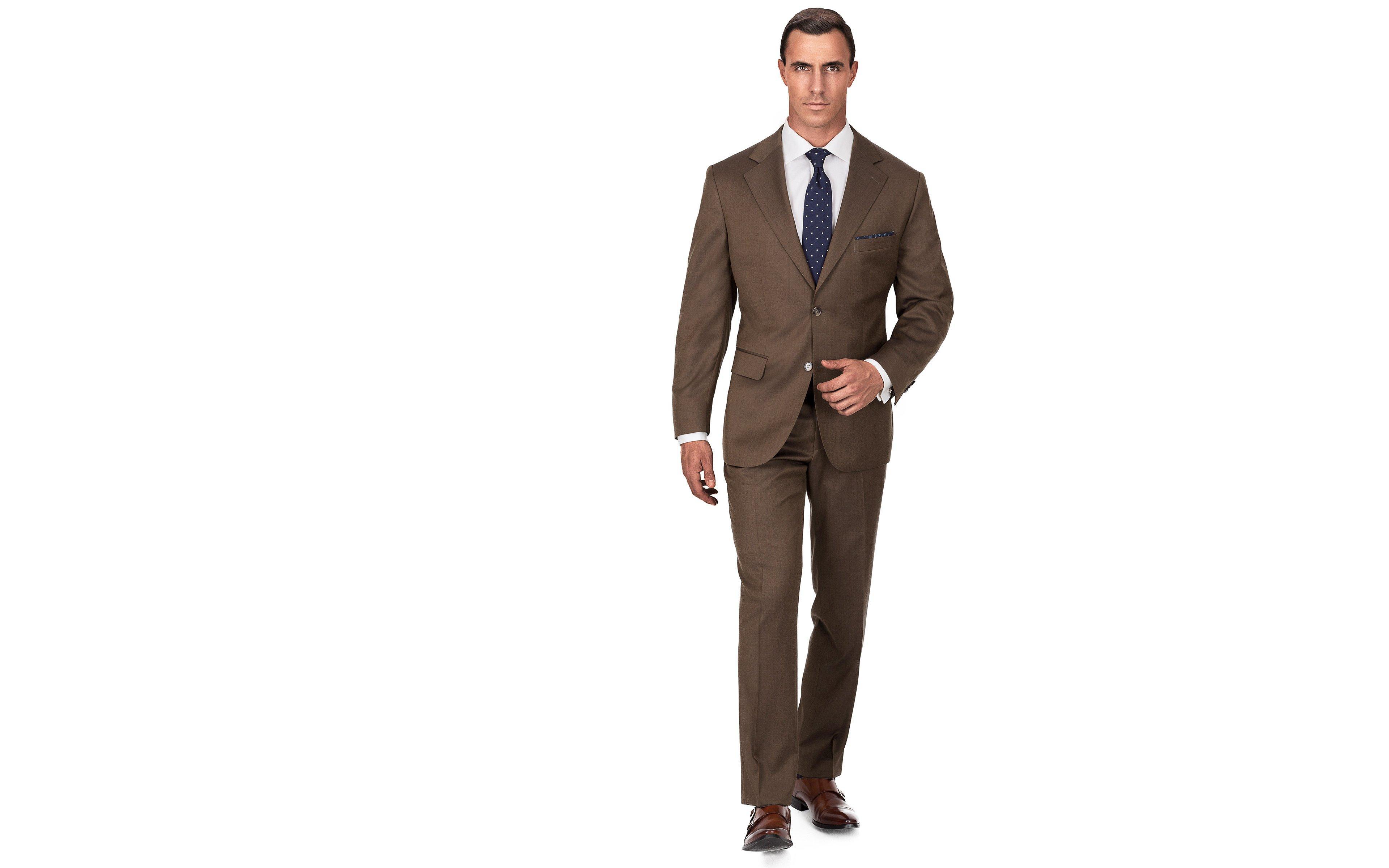 Premium Coffee Brown Wool & Silk Suit