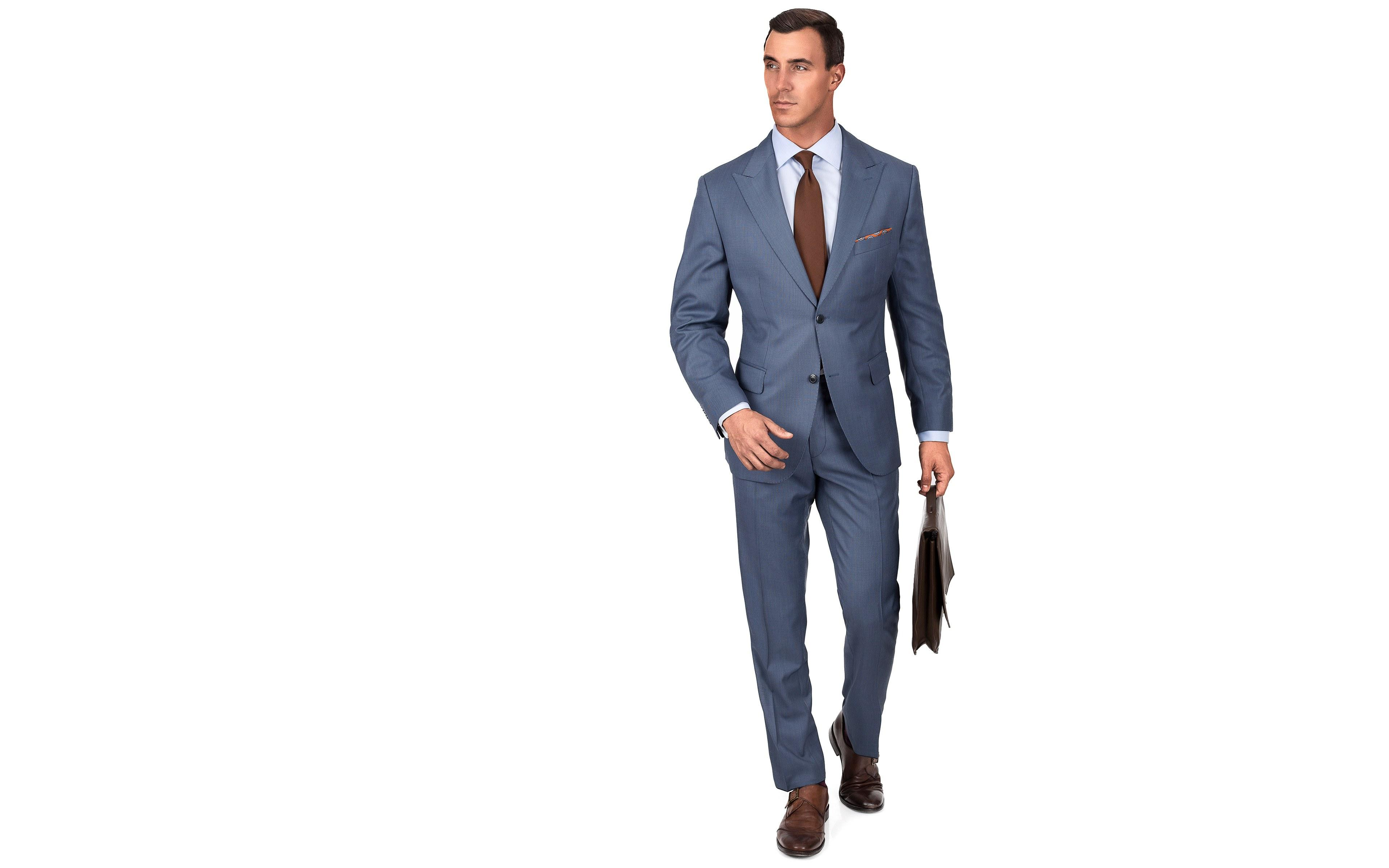 Premium Steel Blue Birdseye Suit