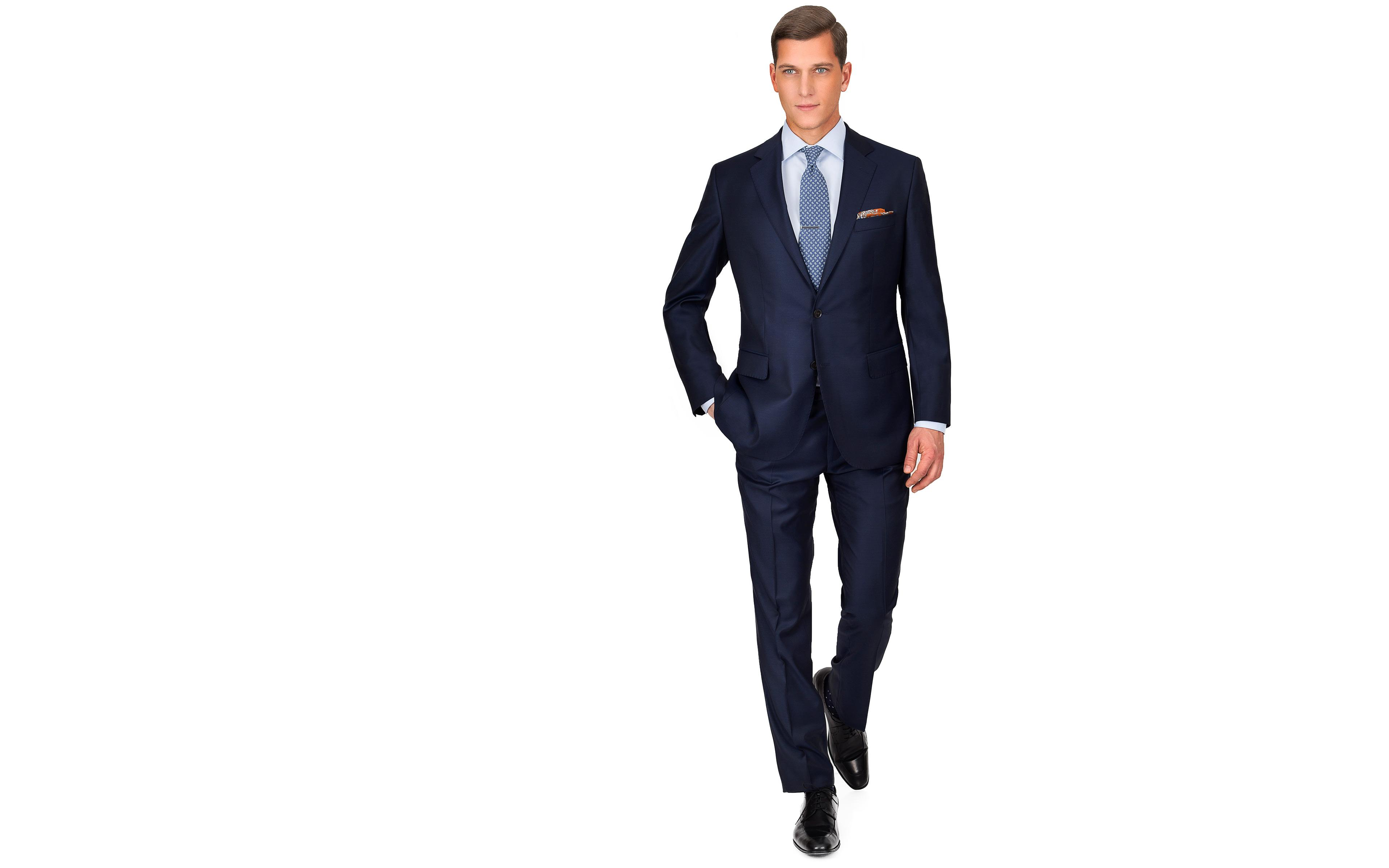 Suit in Solid Deep Blue Wool
