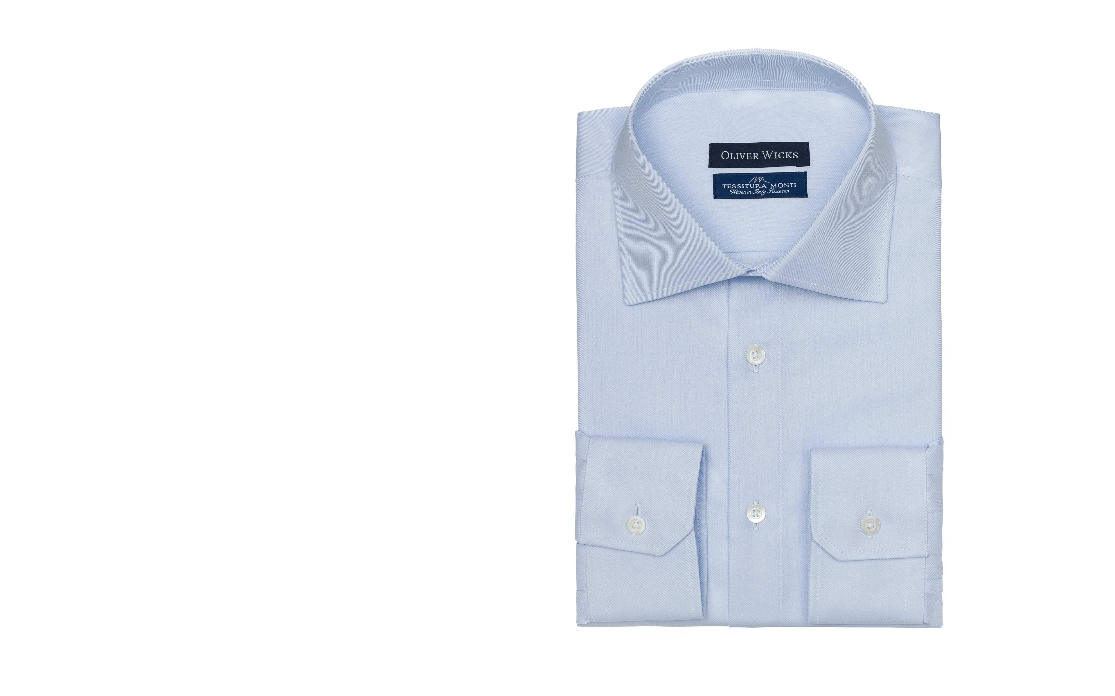 Light Blue Two-Ply Cotton Twill Shirt