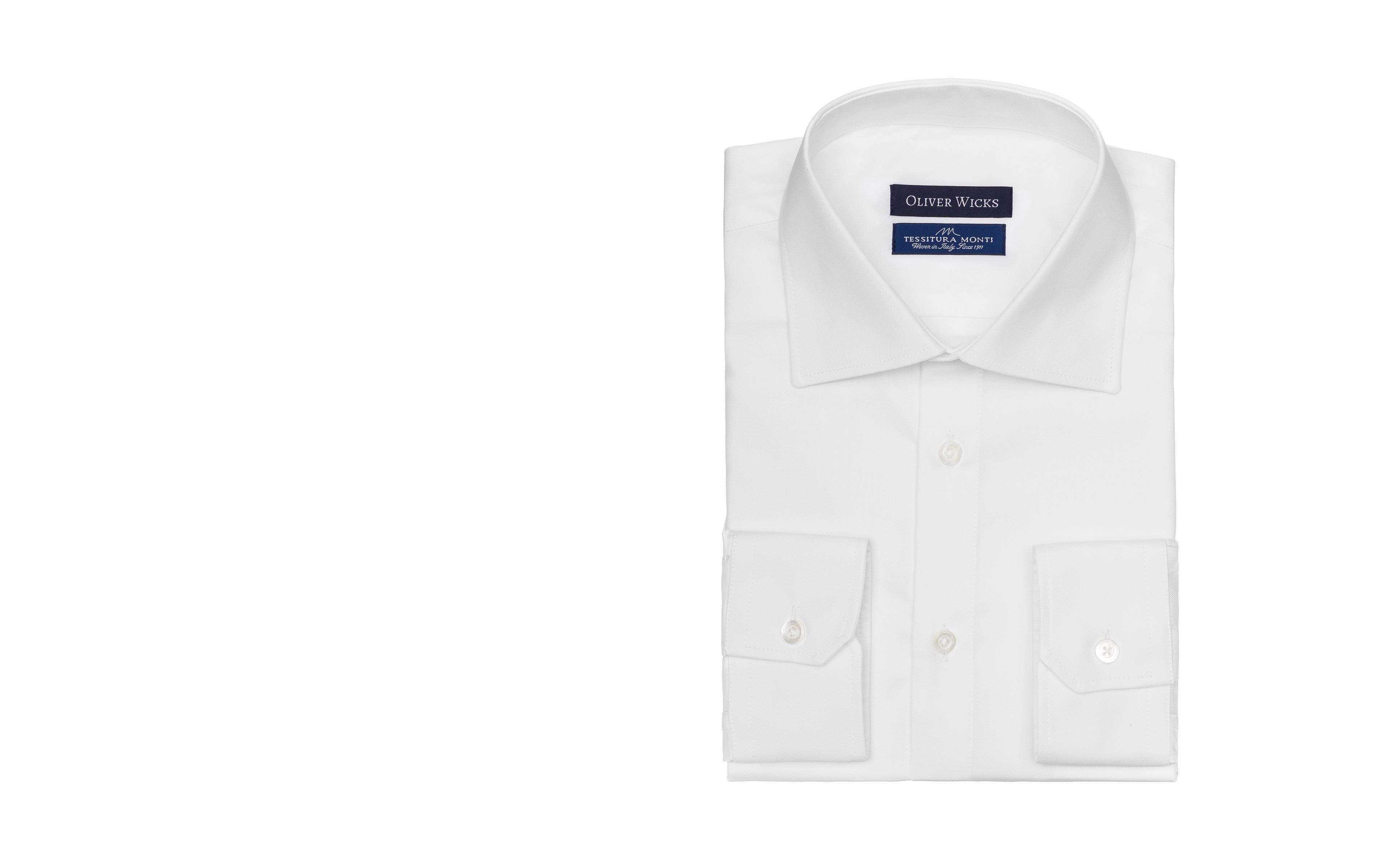White Two-Ply Cotton Twill Shirt