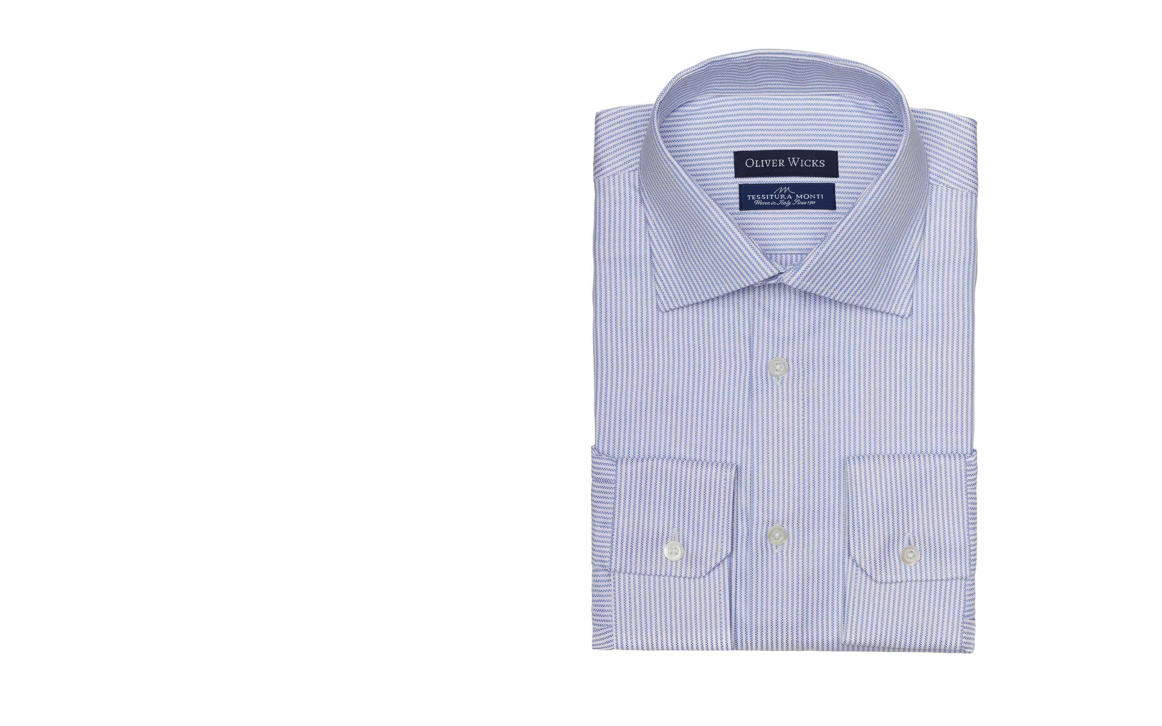 Light Blue Fine Striped Broadcloth Cotton Shirt