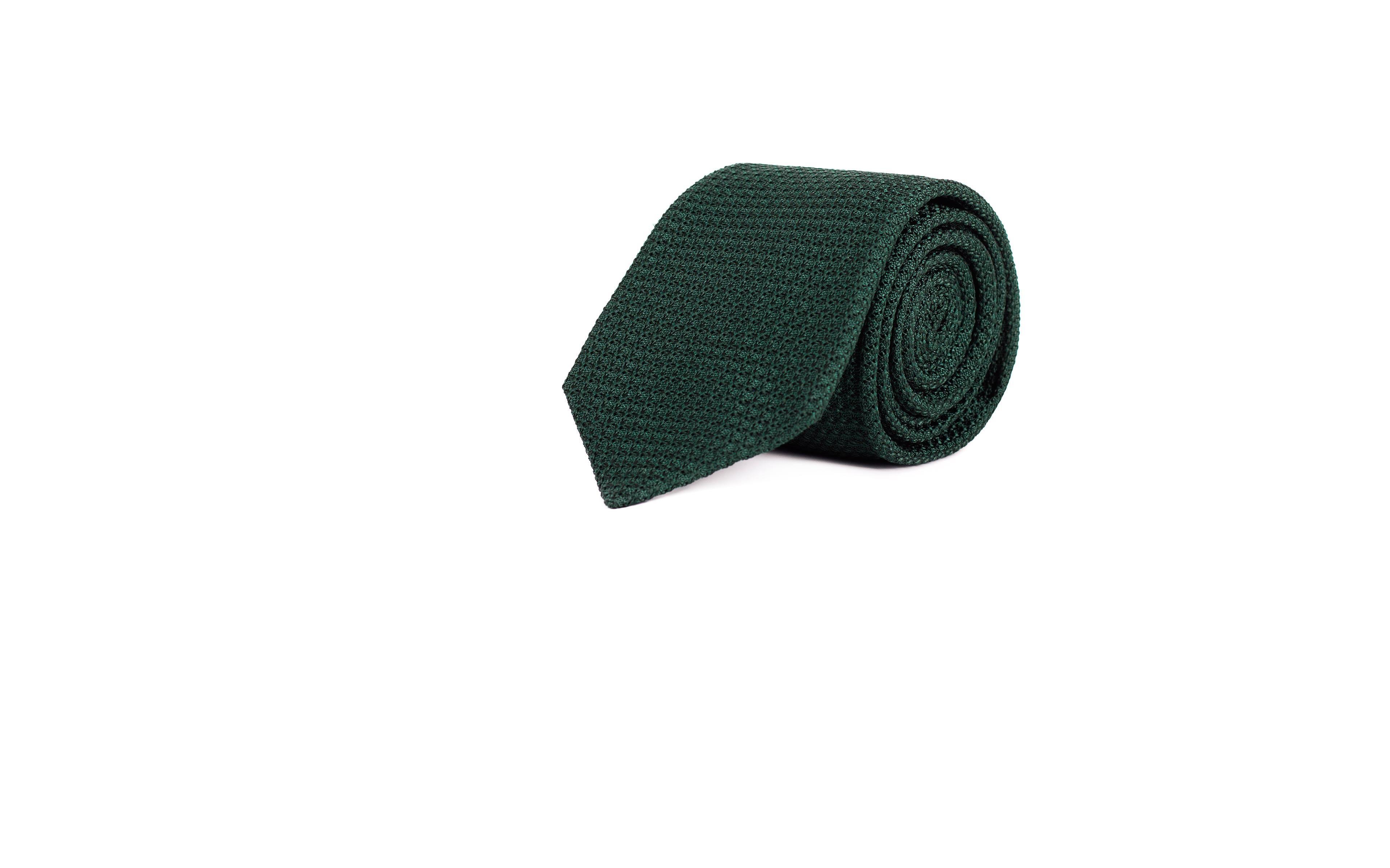 Dark Green 100% Grenadine Silk Tie