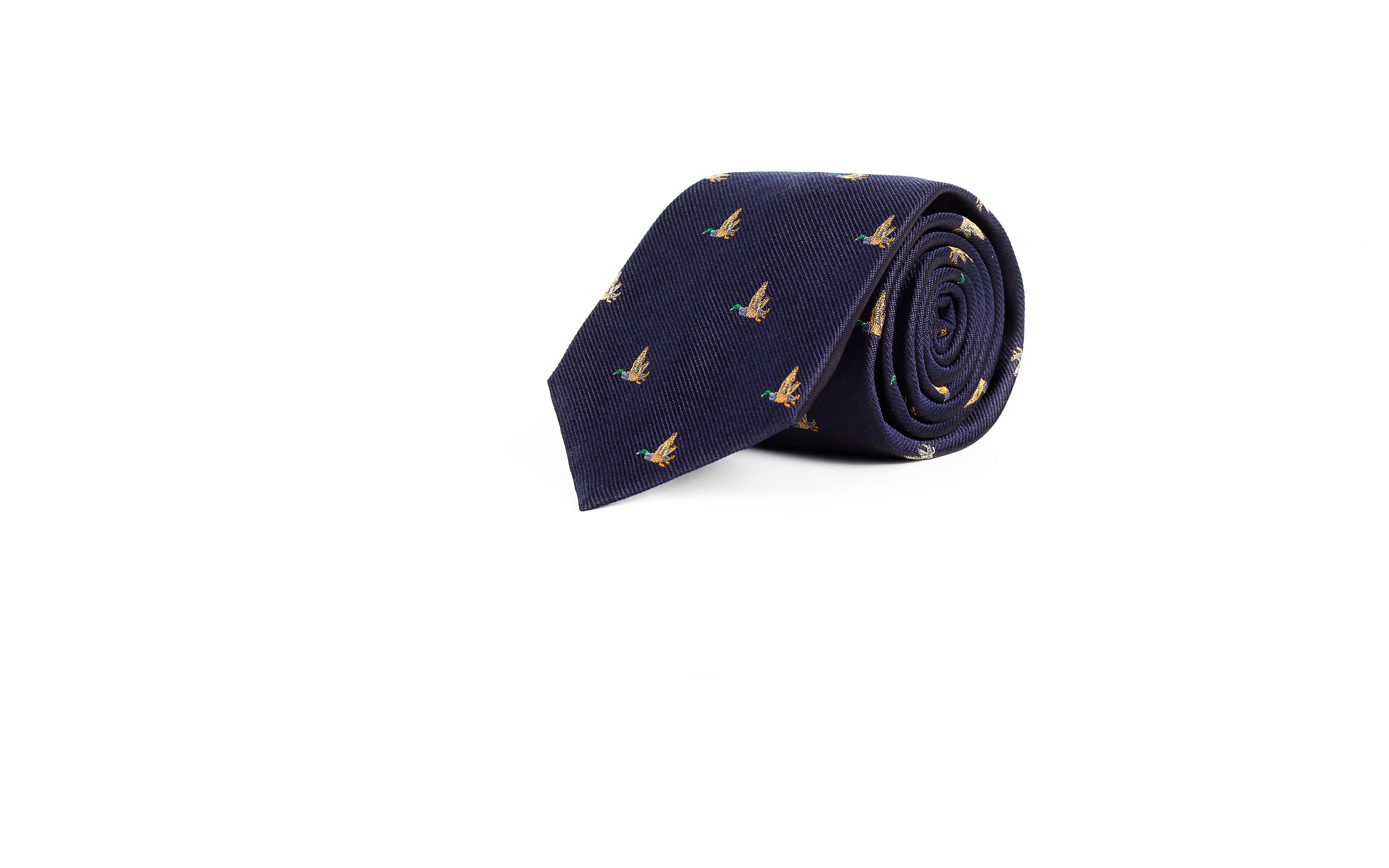 Duck Pattern Navy 100% Silk Tie