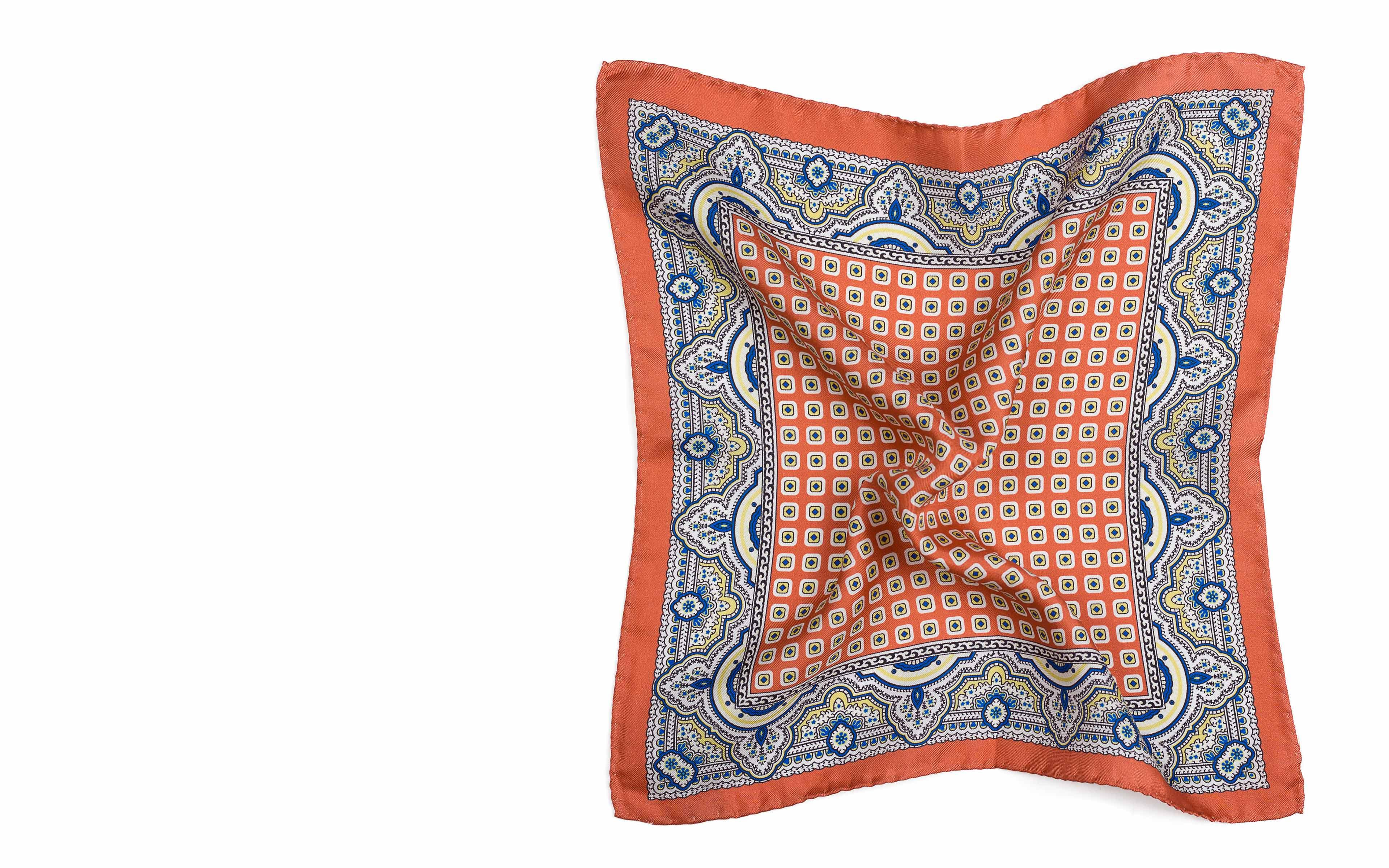 Salmon & Blue Arabesque Pattern Italian 100% Silk Pocket Square