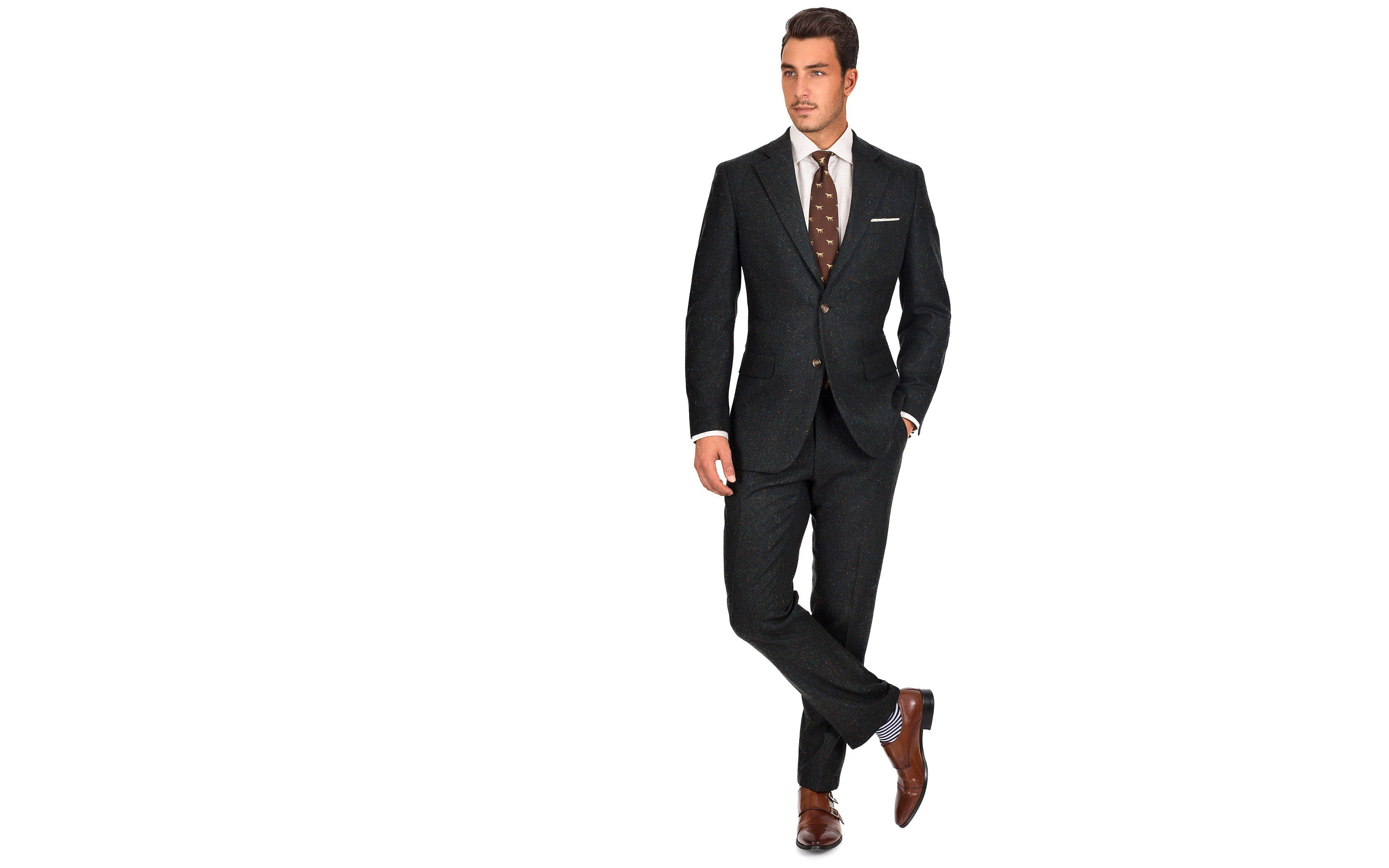 Olive Green Donegal Tweed Suit