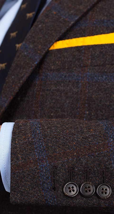 Blue Check Brown Shetland Tweed Blazer