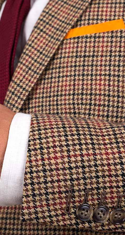 Light Brown Check Wool & Cashmere Blazer