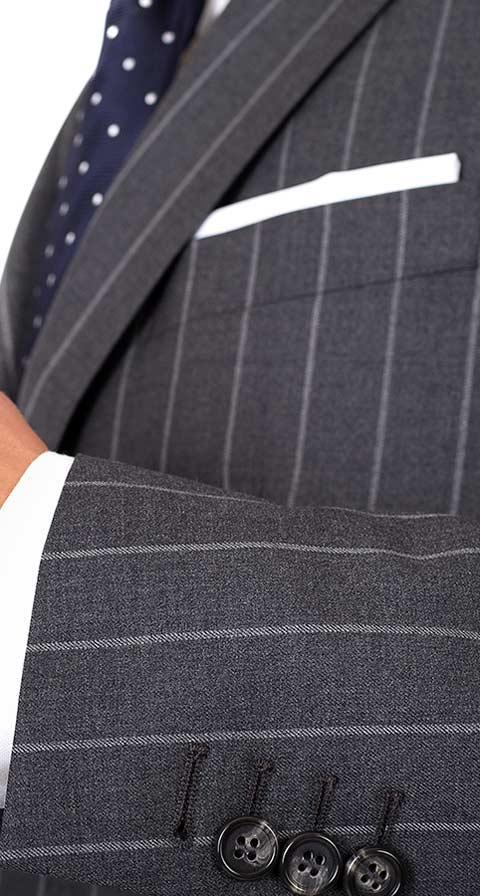 Vendetta Premium Grey Wide Chalkstripe Suit