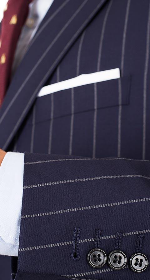 Vendetta Premium Navy Wide Chalkstripe Suit
