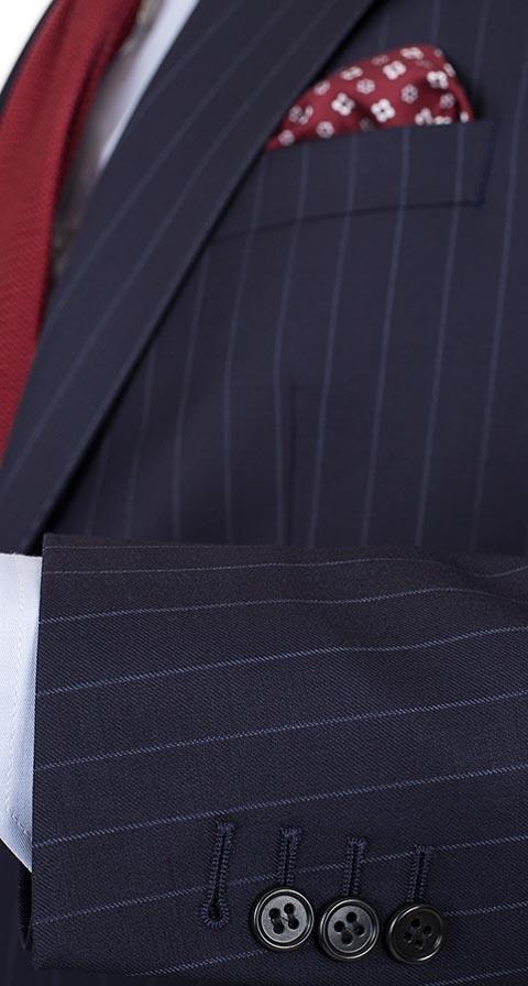 THE W. Suit in Navy Chalkstripe Wool