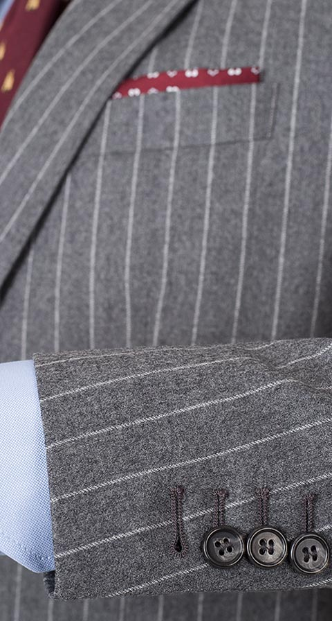 Grey Chalkstripe Wool Flannel Suit