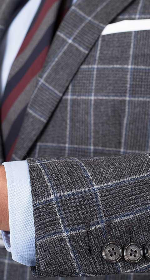 Grey Plaid Wool Flannel Suit
