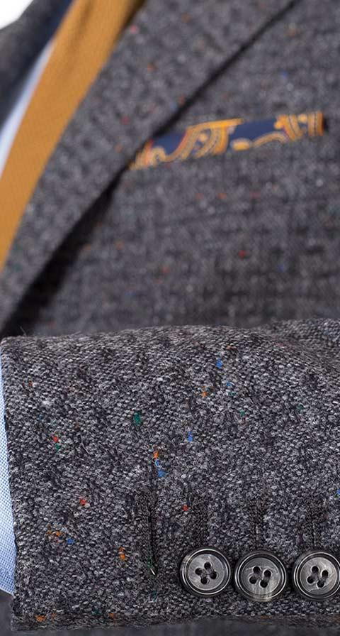 Dark Grey Donegal Shadow Tweed Suit