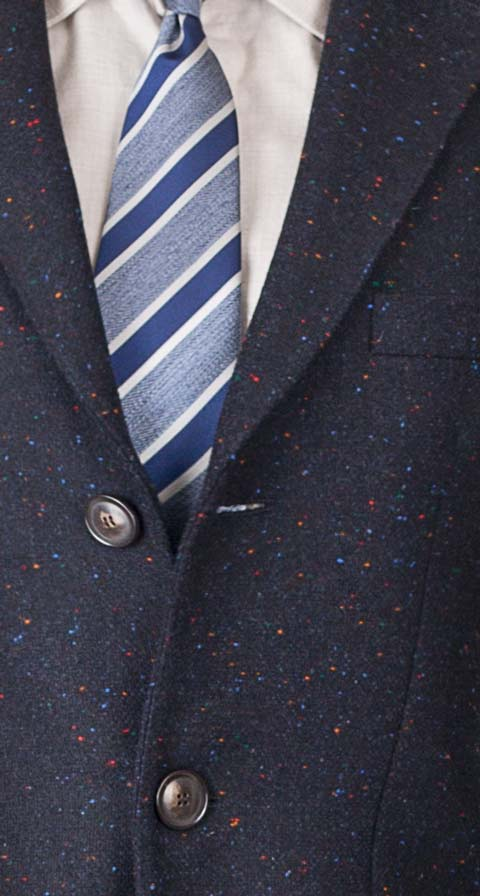 THE W. Coat in Navy Donegal Wool