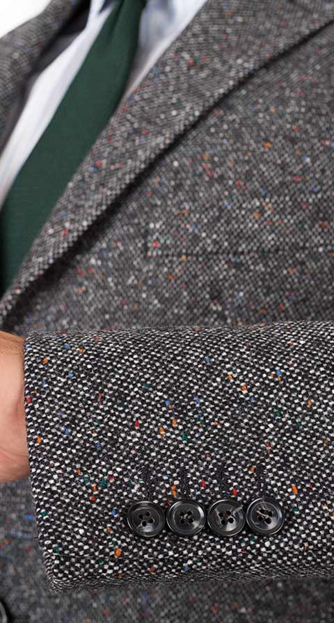 THE W. Coat in Charcoal Donegal Wool