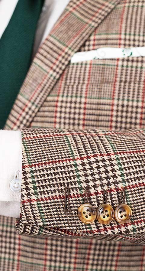 Light Brown Plaid Wool & Cashmere Suit