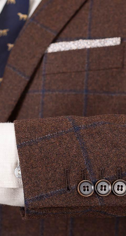 Blue Check Brown Wool & Cashmere Suit