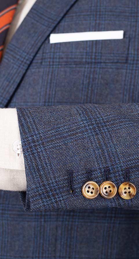 Steel Blue Plaid Wool & Cashmere Suit