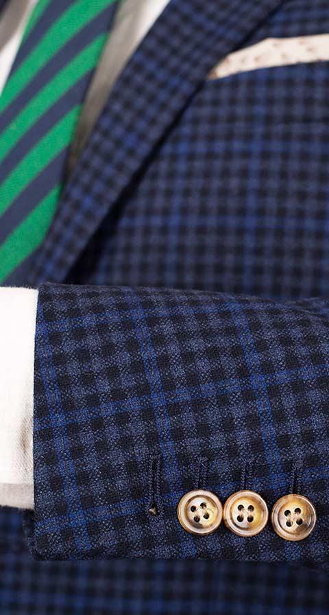 Blue Guncheck Wool & Cashmere Suit