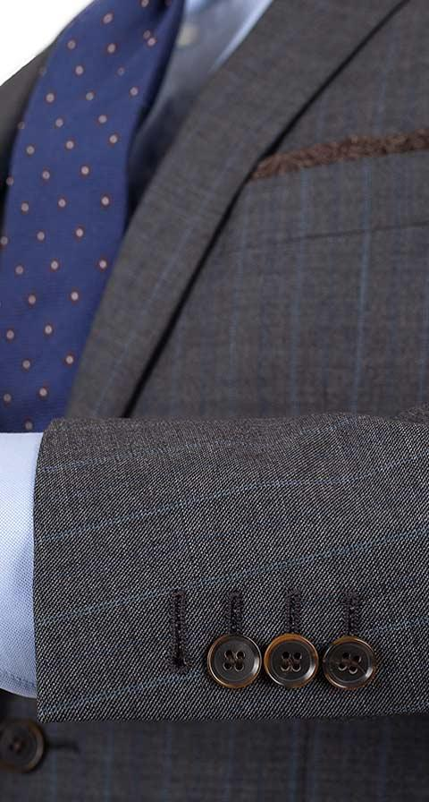 Blue Stripe Grey Natural Stretch Suit