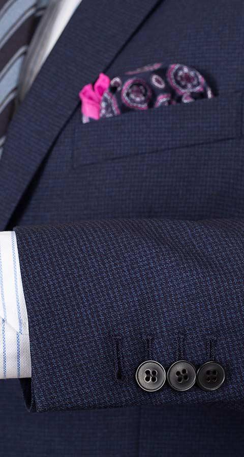 Navy Houndstooth Natural Stretch Suit