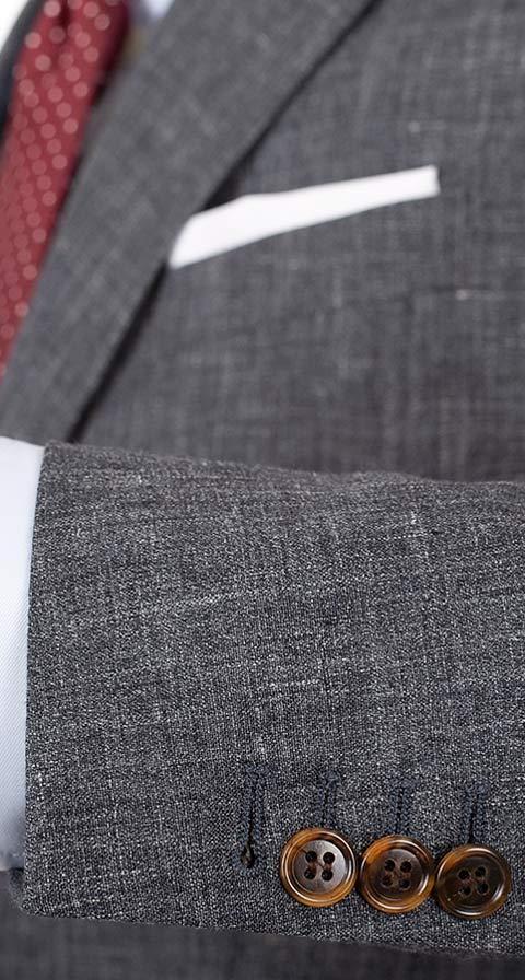 Dark Grey Melange Linen Suit