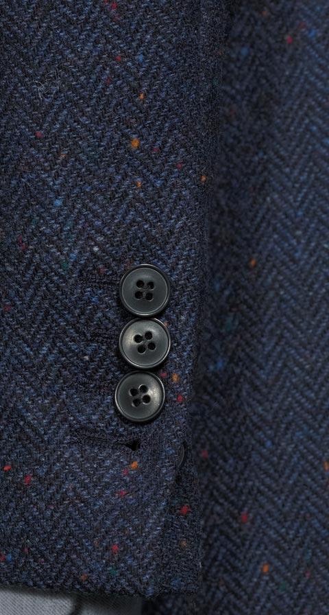Navy Donegal Herringbone Tweed Blazer