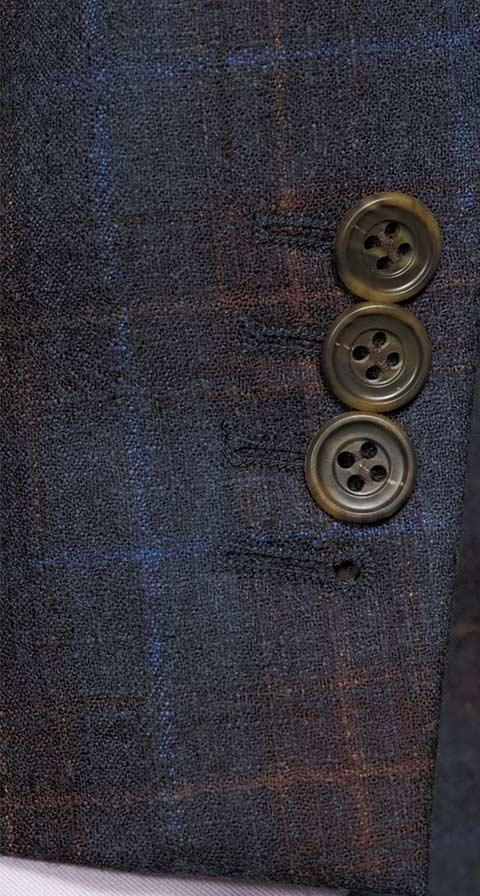 Tangerine & Blue Check Navy Natural Stretch Blazer