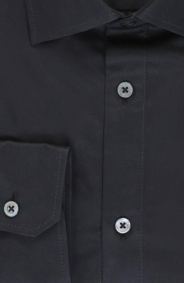 Black Two-Ply Cotton Twill Shirt