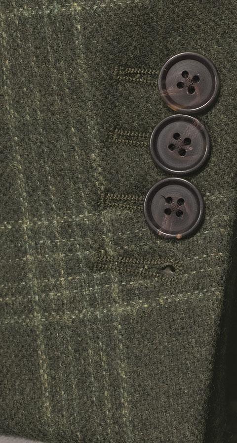Forest Green Plaid Wool & Cashmere Blazer