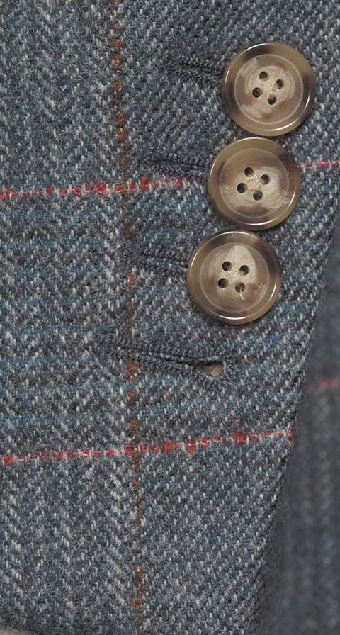 Steel Blue Plaid with Red Overcheck Wool & Cashmere Blazer