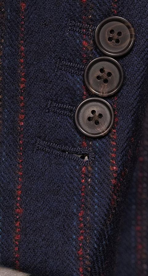 Red Stripe Blue Wool & Cashmere Blazer