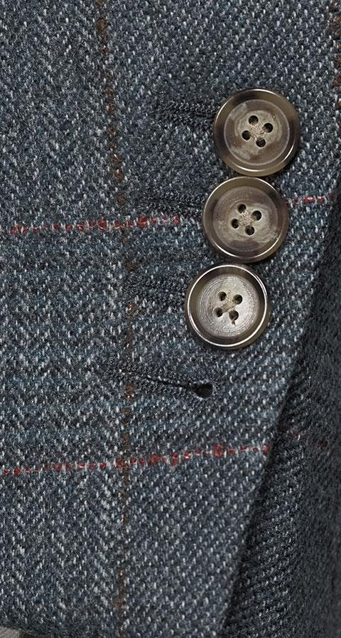Steel Blue Plaid with Red Overcheck Wool & Cashmere Suit