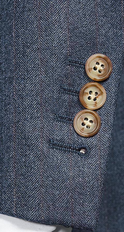 Ecru Pinstripe Blue Suit