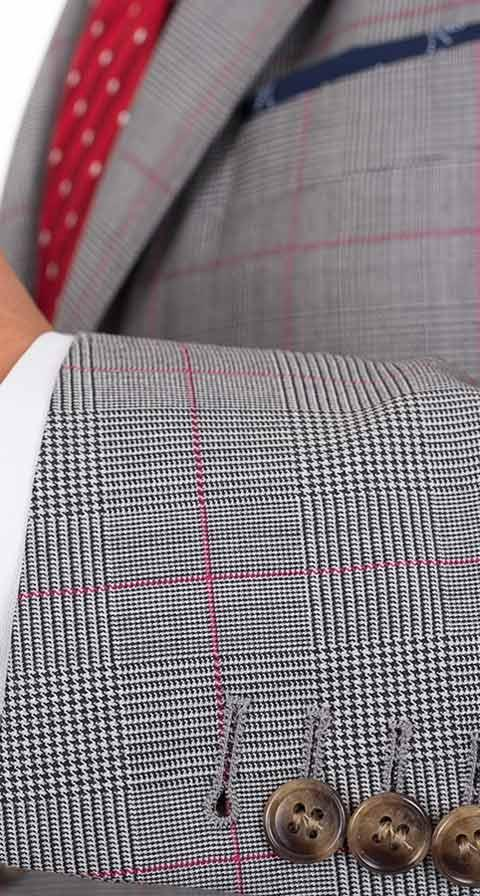 Vendetta Premium Grey & Red Plaid Suit