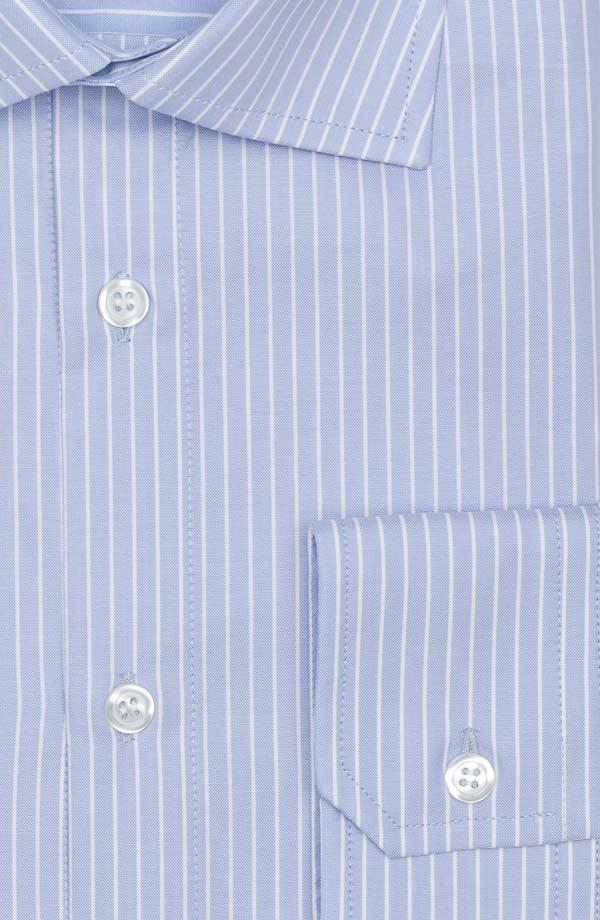 White Striped Blue Two-Fold Cotton Shirt