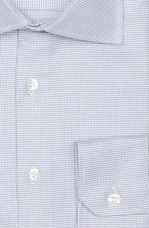 Micropatterned White & Blue Two-ply Cotton Shirt