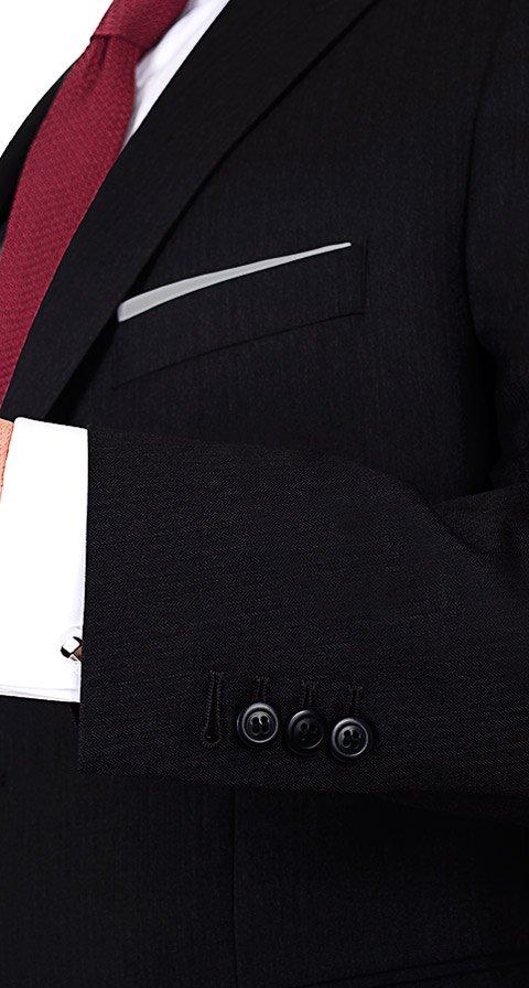 Premium Black Herringbone Suit