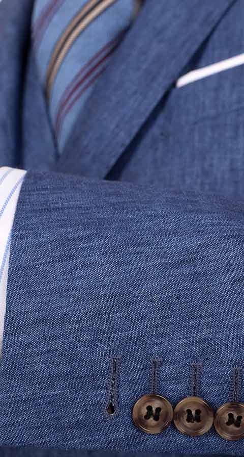 Sky Blue Linen 3 Piece Suit