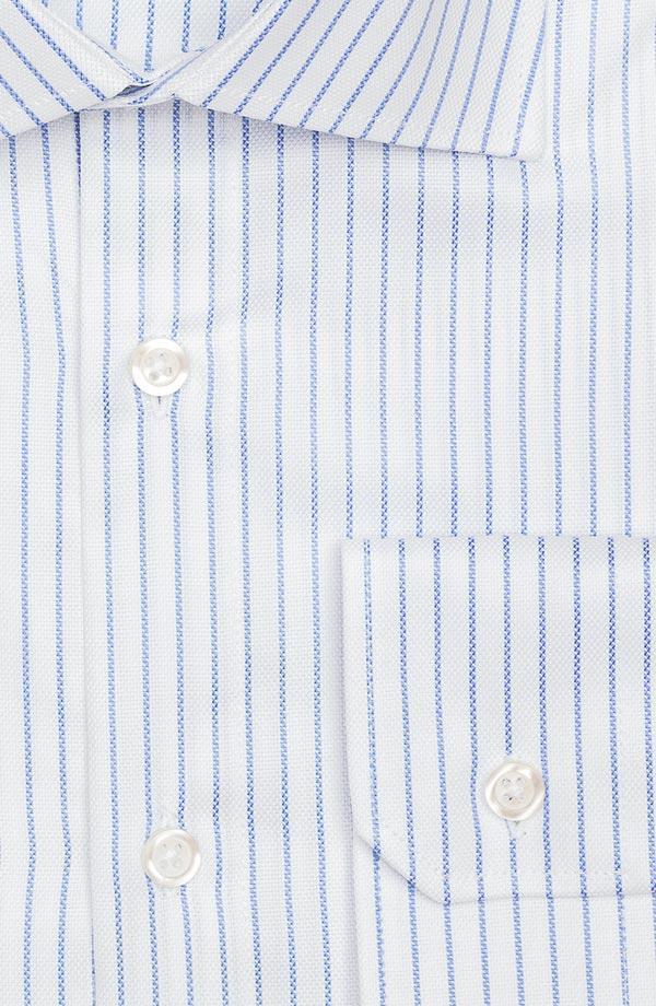Blue Stripe White Cotton Royal Oxford Shirt