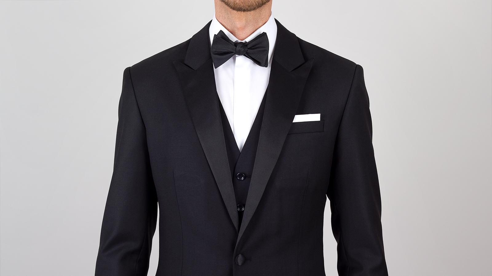 Essential Black 3 Piece Tuxedo in Italian Wool - slider image 1