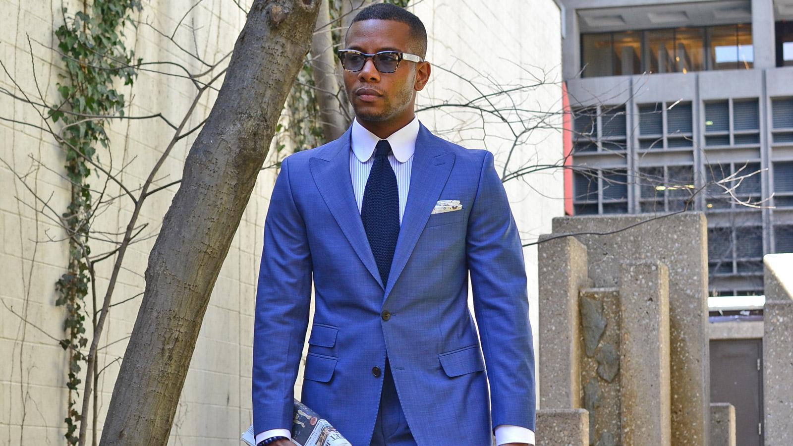 Men's Style Pro Sky Blue Suit - slider image 1