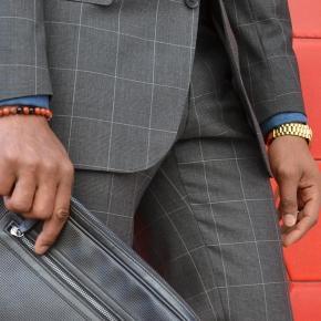 Men's Style Pro Grey Plaid Suit - thumbnail image 3